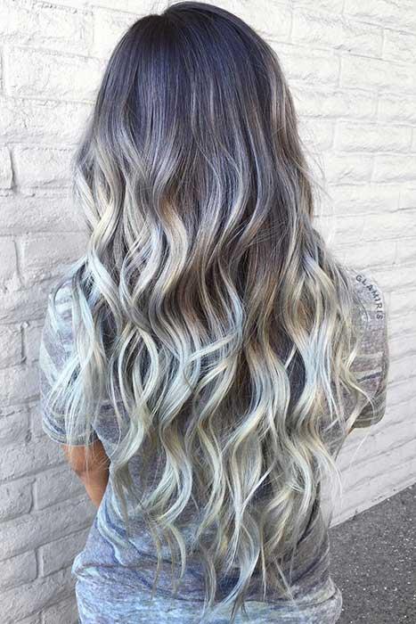 Dark Grey to Silver Hair Color Idea