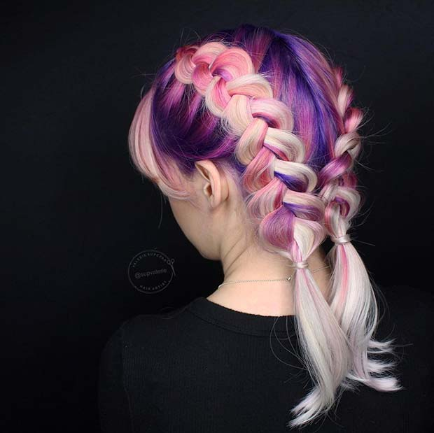 Dark Purple, Pink and Pastel Pink Hair