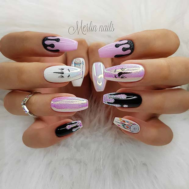 Pink and Black Unicorn Nails