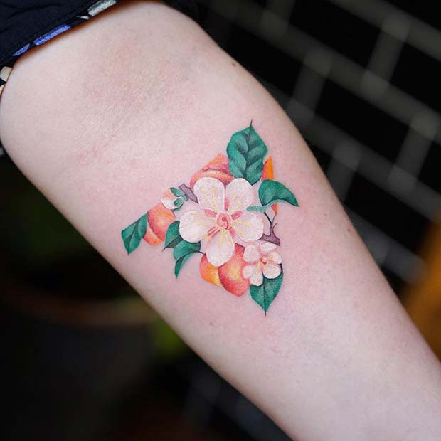 Colorful Floral Triangle Tattoo