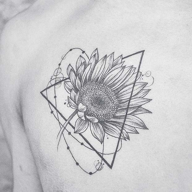 Sunflower and Triangle Tattoo Idea