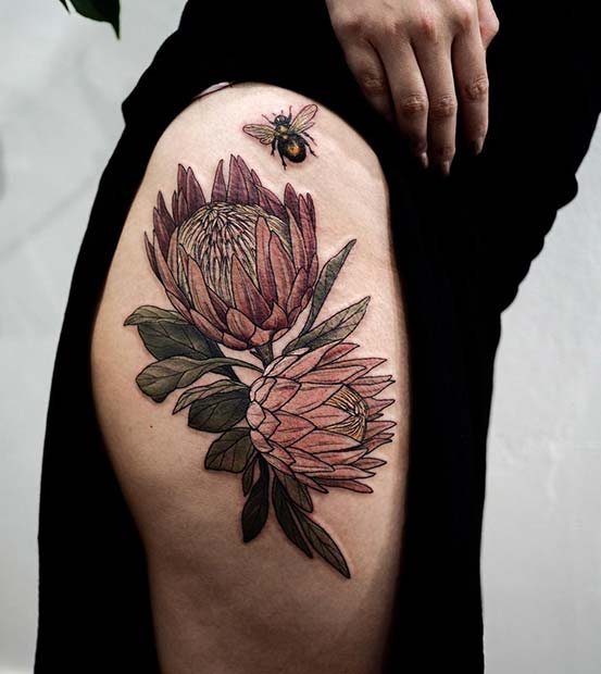 Flowers and Bee Hip Tattoo Idea