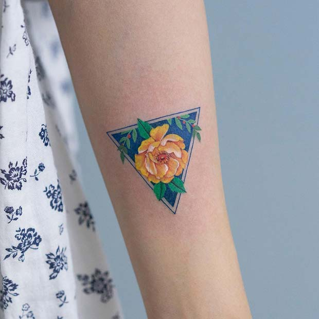 Geometric Flower Tattoo Design