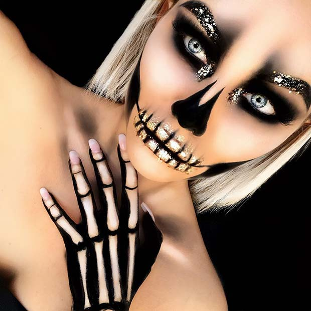 Pretty Glitter Skeleton Halloween Makeup