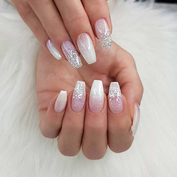 Elegant White Ombre Coffin Nails with Glitter