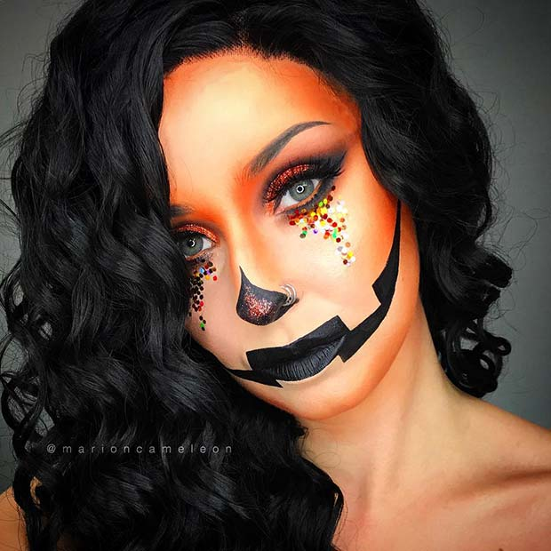 Pretty Halloween Pumpkin Makeup