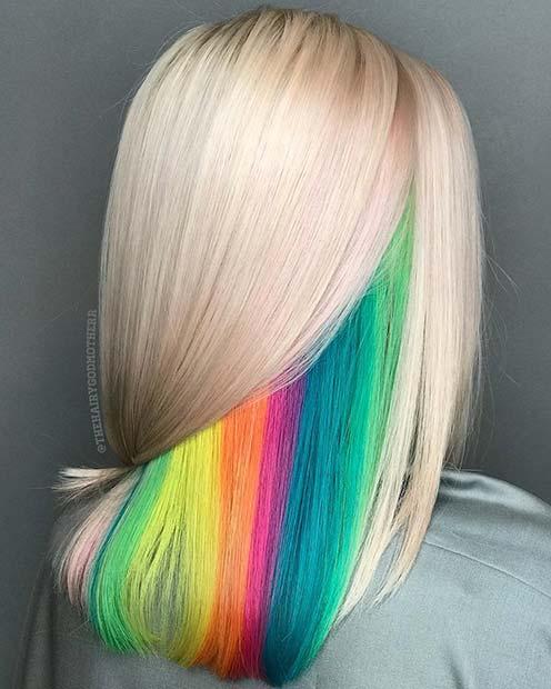Hidden Rainbow Hair Color Idea