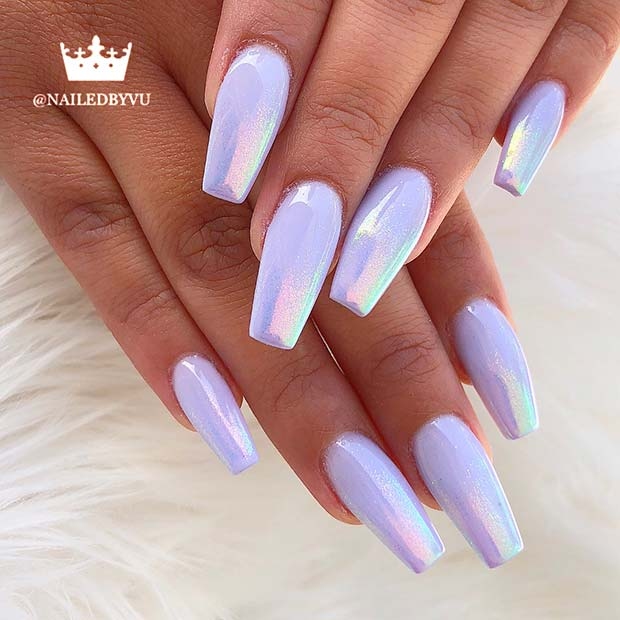 Unicorn Chrome Coffin Nails