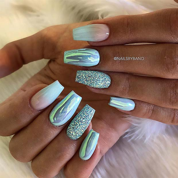 Ombre Light Blue and Chrome Coffin Nails