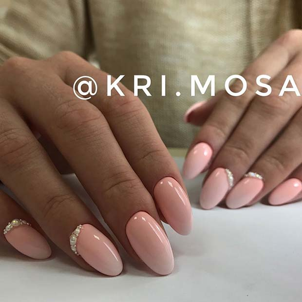 Elegant Light Pink Nails with Pearls