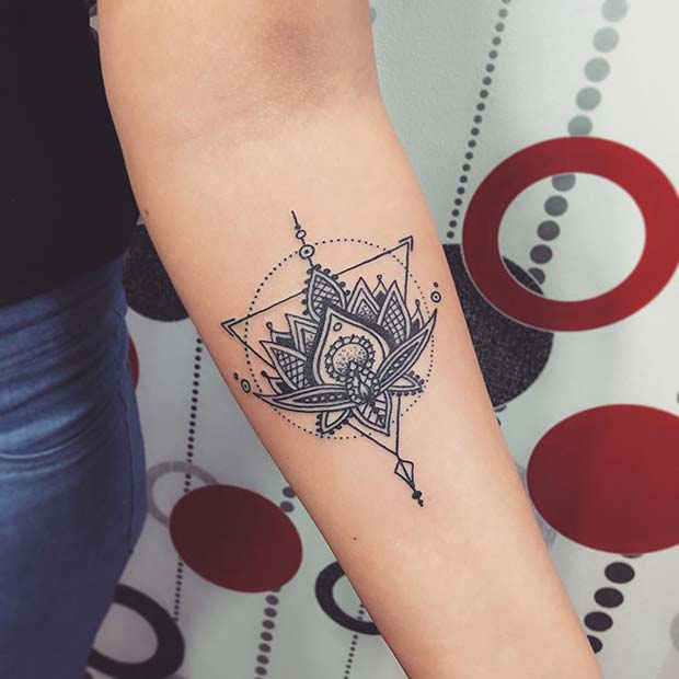 Lotus Flower Triangle Tattoo