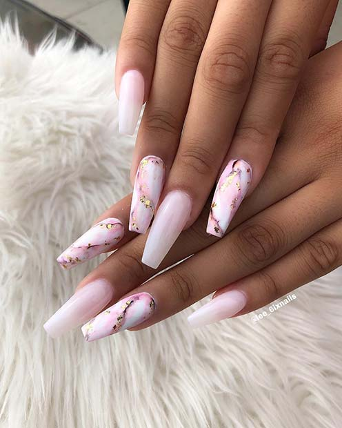Long, Marble Coffin Nails