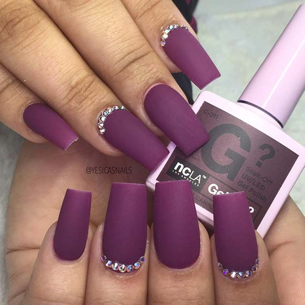 Matte Purple Nails with Rhinestones