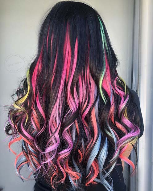 Pastel Unicorn Colors on Dark Hair