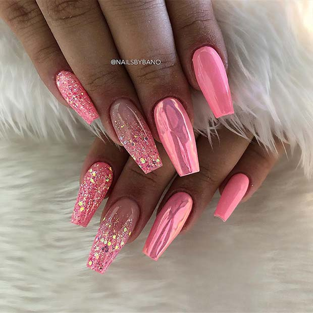 Pink Chrome and Glitter Coffin Nails