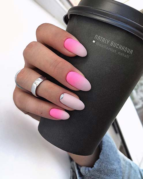 Matte Pink and White Ombre Nails