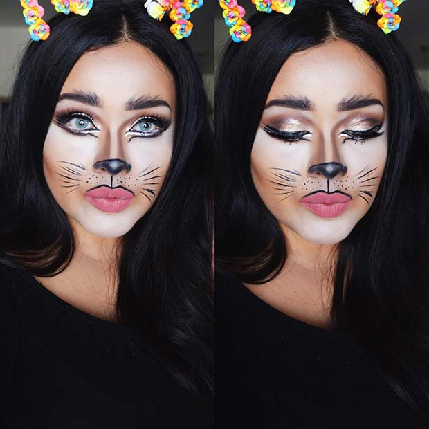 Pretty DIY Cat Halloween Makeup Idea