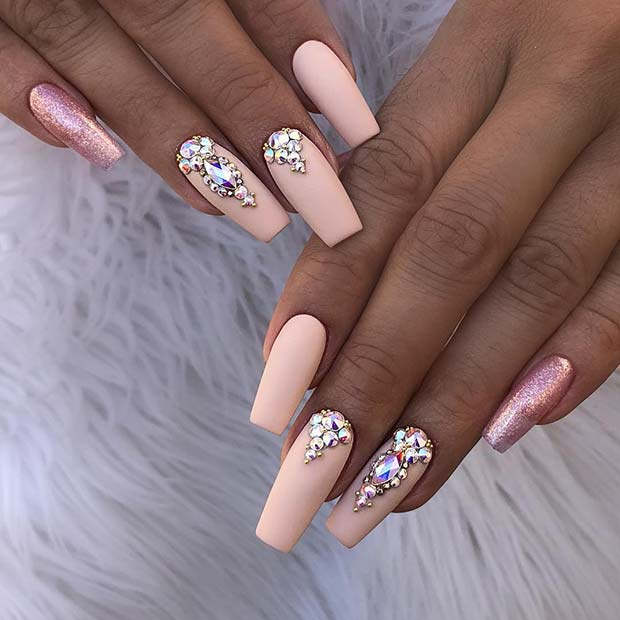 Beautiful Matte Nude Coffin Nails
