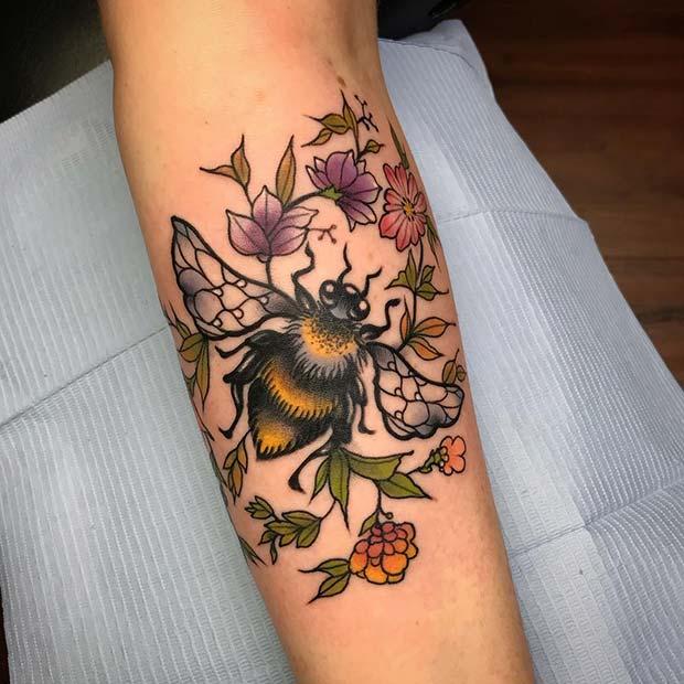 Pretty Floral Bee Tattoo Idea