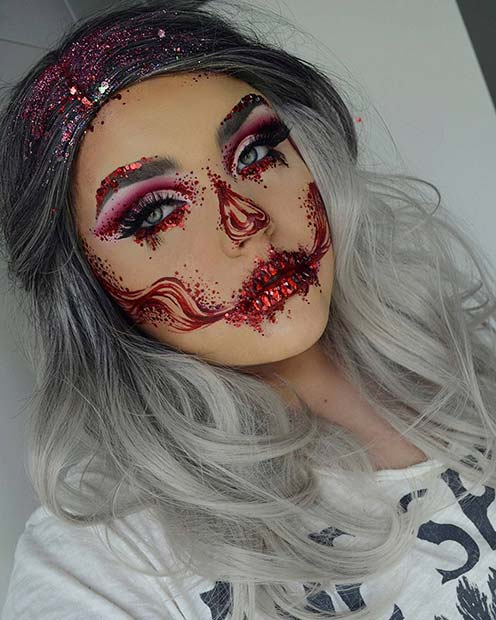 Pretty Halloween Makeup with Glitter