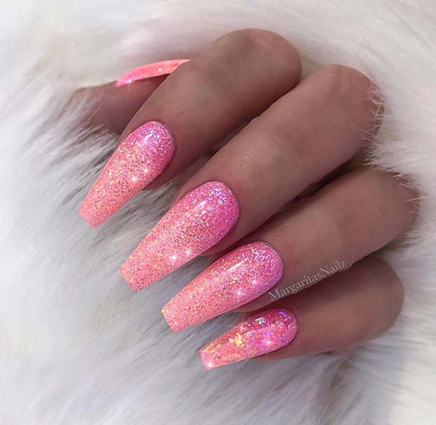 Sparkly Pink Glitter Coffin Nails