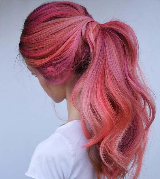 Pretty Vibrant Pink Ponytail
