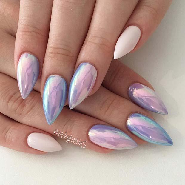 Purple Unicorn Chrome Nails