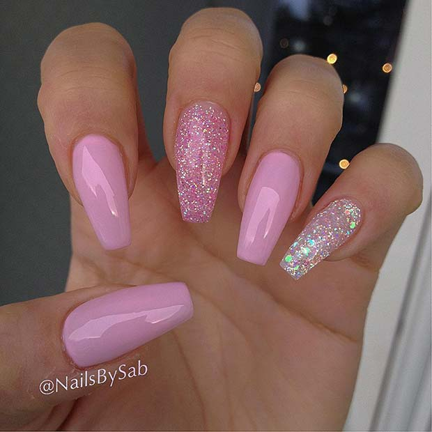 Pretty Pink Glitter Coffin Nails