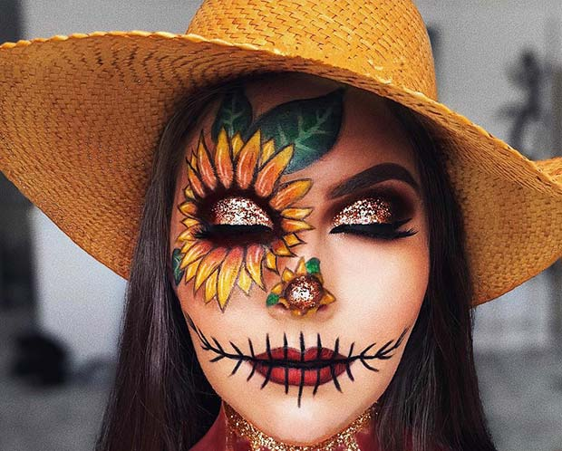 Pretty Scarecrow Halloween Makeup