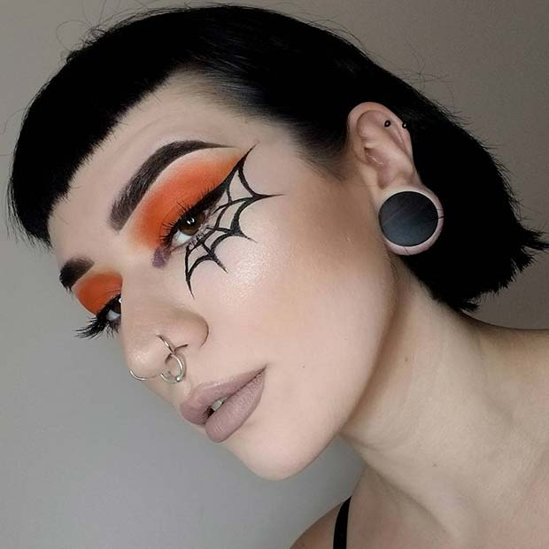 Easy Spider Web Eye Makeup Idea for Halloween