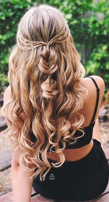 Curly Half Updo with Braids