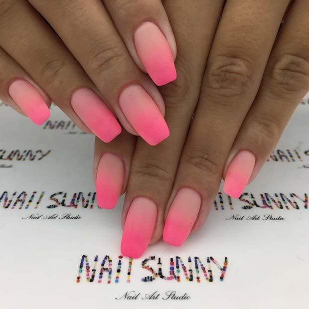 Matte & Ombre Hot Pink Nails