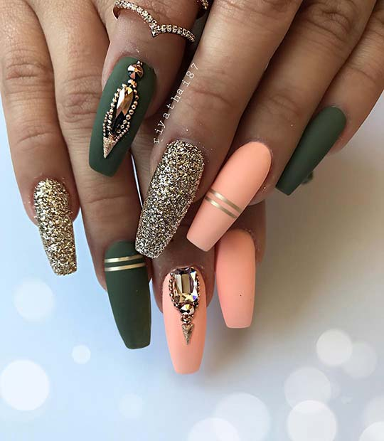 Long, Matte Coffin Nails with Glitter and Rhinestones