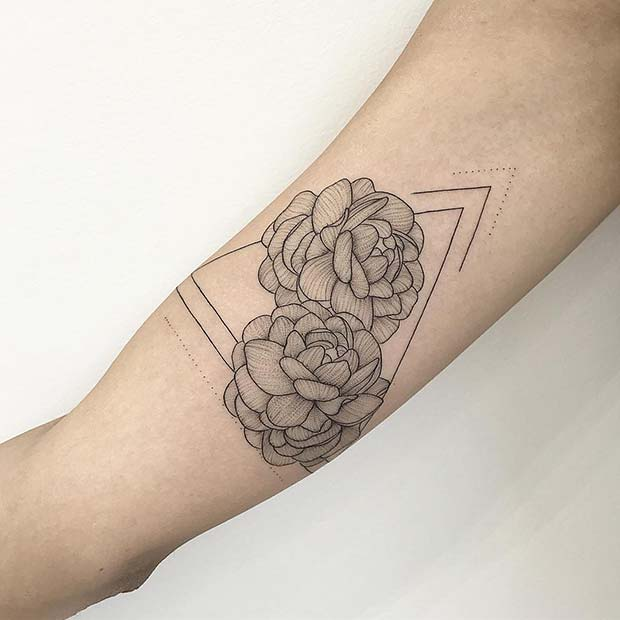 Triangle Tattoo with Peonies