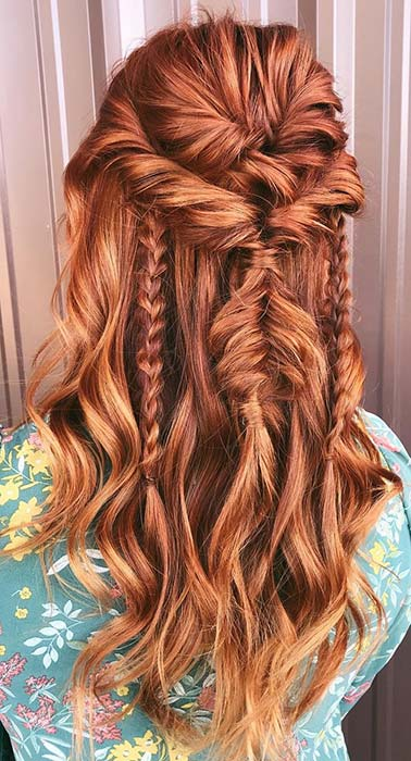 Twisted Half Updo with Messy Braids