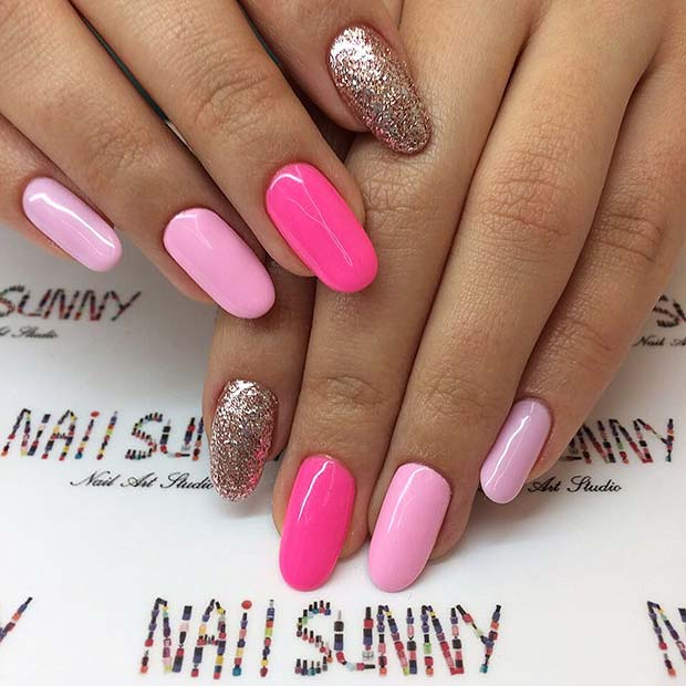 Pink Acrylic Nails with a Pop of Glitter