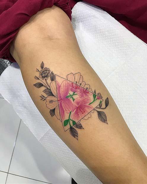 Unique Floral Triangle Tattoo