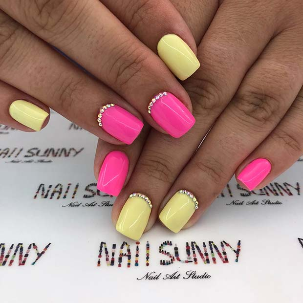 Vibrant Mani with Two Colors and Rhinestones