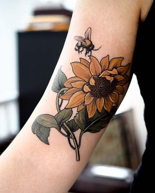 Vibrant Sunflower and Bee Tattoo Design