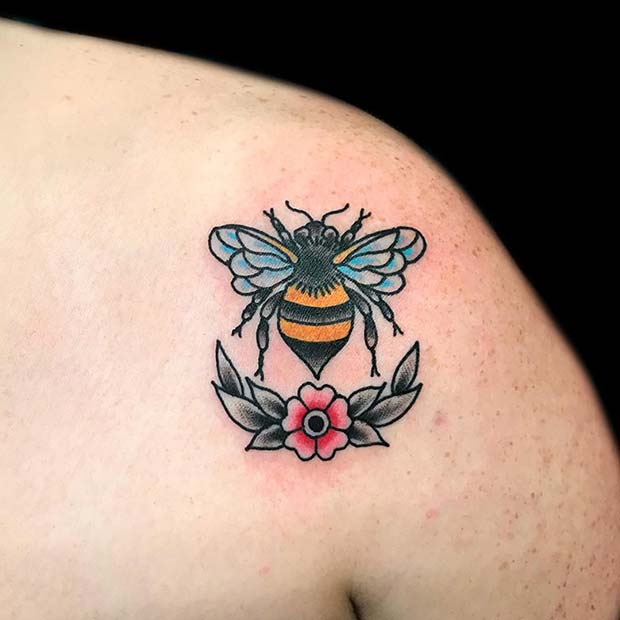 Vintage Style Bumble Bee Tattoo
