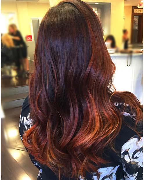 Warm, Copper Balayage Hair Color Idea