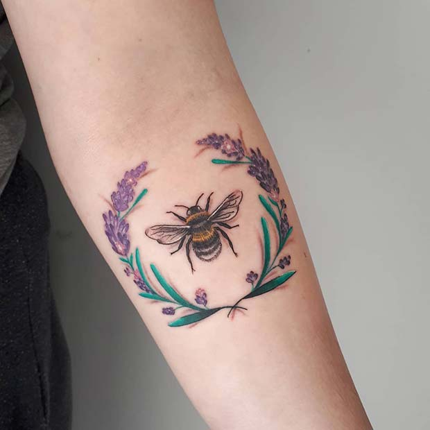 Lavender Wreath and a Bumble Bee