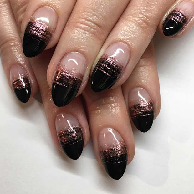 Beautiful Black and Rose Gold Nails