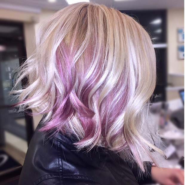 Beautiful Purple and Blonde Bob Haircut