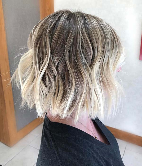 Brown to Blonde Balayage Bob Hair