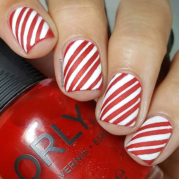 Candy Cane Inspired Holiday Nails