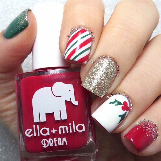 Sparkly, Striped Christmas Nails
