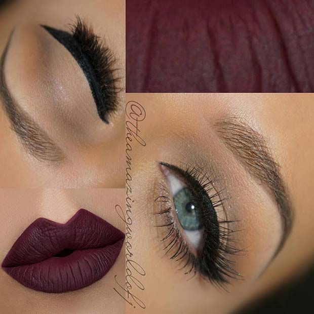 Classic Eyeliner with Dark Bold Lips