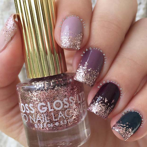 Rose Gold Glitter Ombre Nails