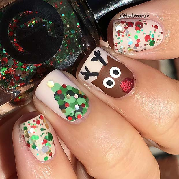 Cute Rudolph and Christmas Tree Nails